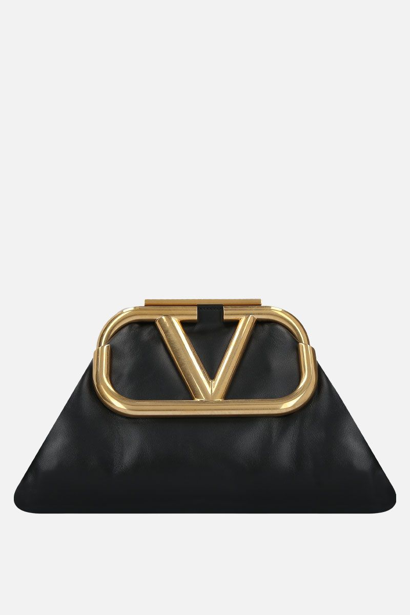 VALENTINO GARAVANI: Supervee soft nappa oversize clutch Color Black_1