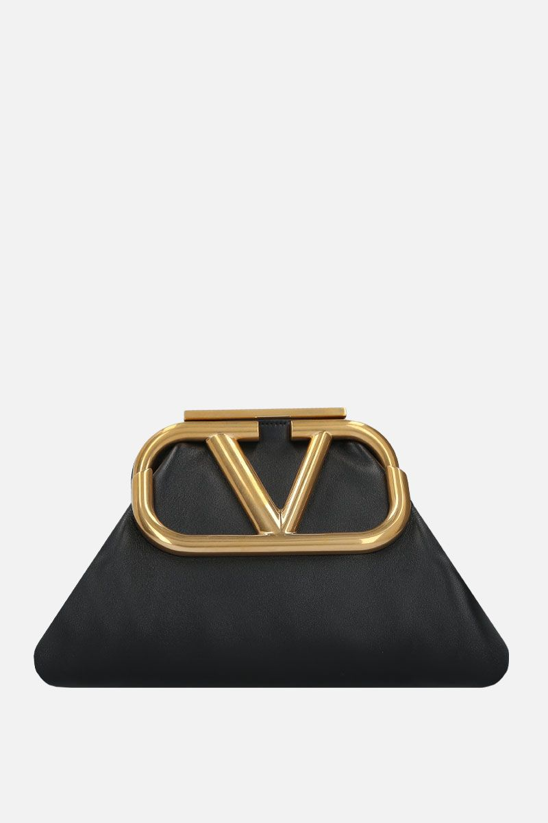 VALENTINO GARAVANI: Supervee soft nappa strap clutch Color Black_1