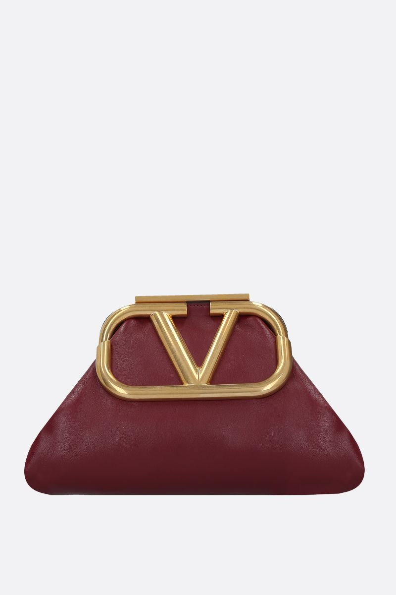 VALENTINO GARAVANI: Supervee soft nappa strap clutch Color Red_1