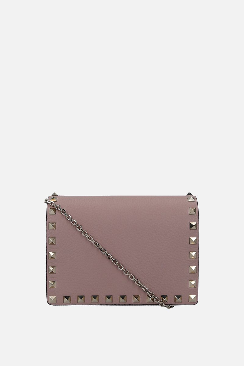 VALENTINO GARAVANI: Rockstud grained leather chain clutch Color Pink_1