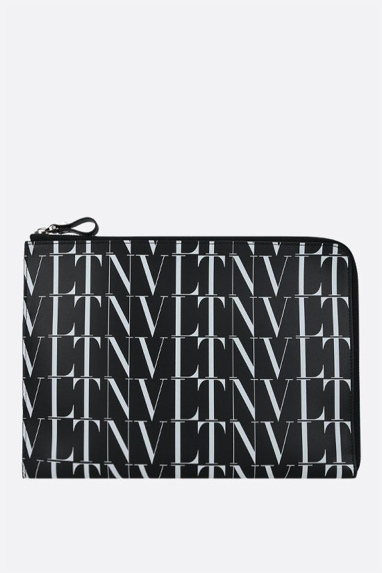 VALENTINO GARAVANI: VLTN TIMES smooth leather pouch Color Black_1