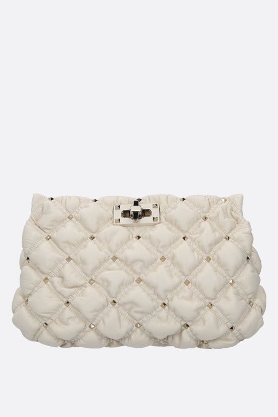 VALENTINO GARAVANI: SpikeMe quilted nappa clutch Color Neutral_1