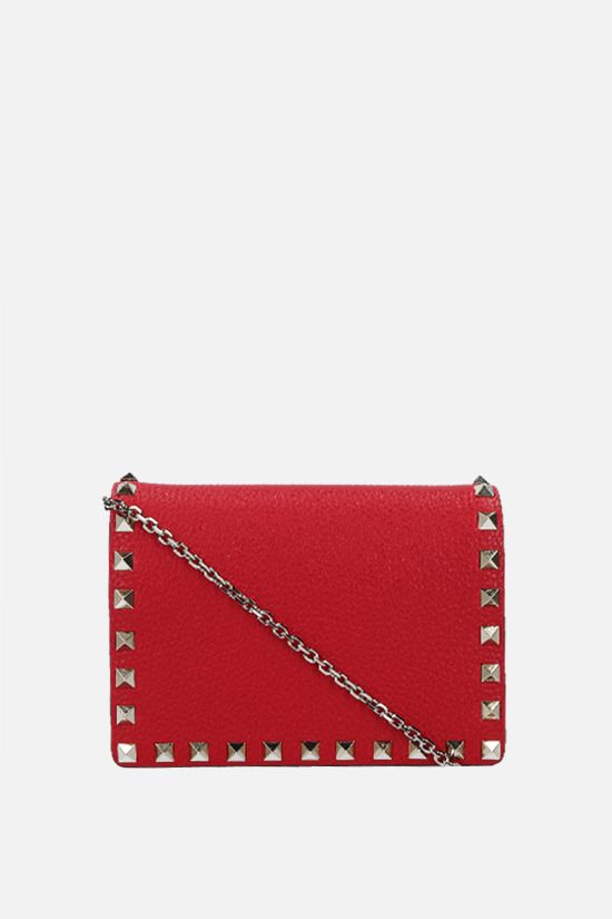 VALENTINO GARAVANI: Rockstud grainy leather chain clutch Color Red_1