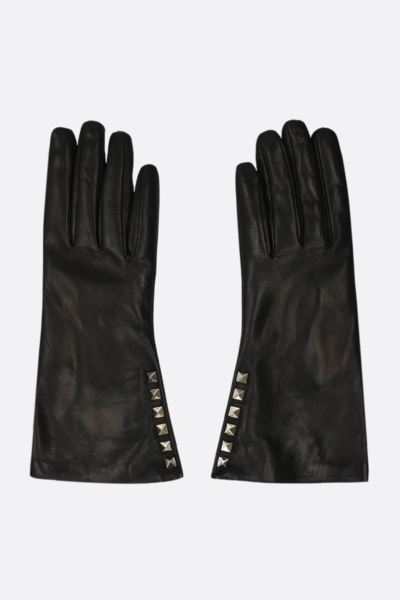 VALENTINO GARAVANI: Rockstud soft nappa gloves Color Black_1