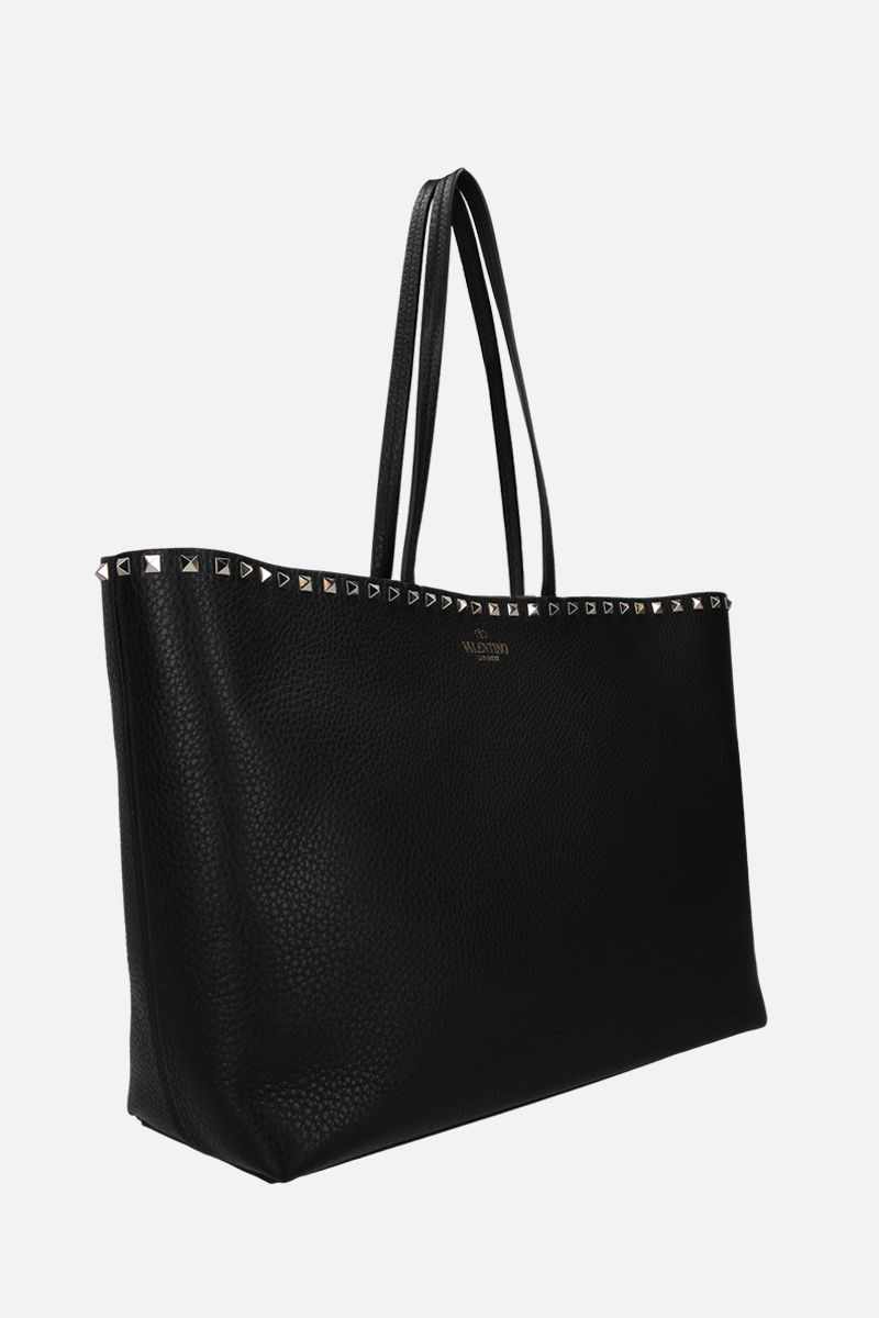 VALENTINO GARAVANI: Rockstud grainy leather tote bag Color Black_2