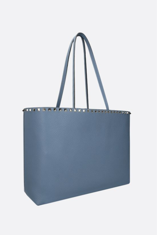 VALENTINO GARAVANI: Rockstud grainy leather tote bag Color Blue_2