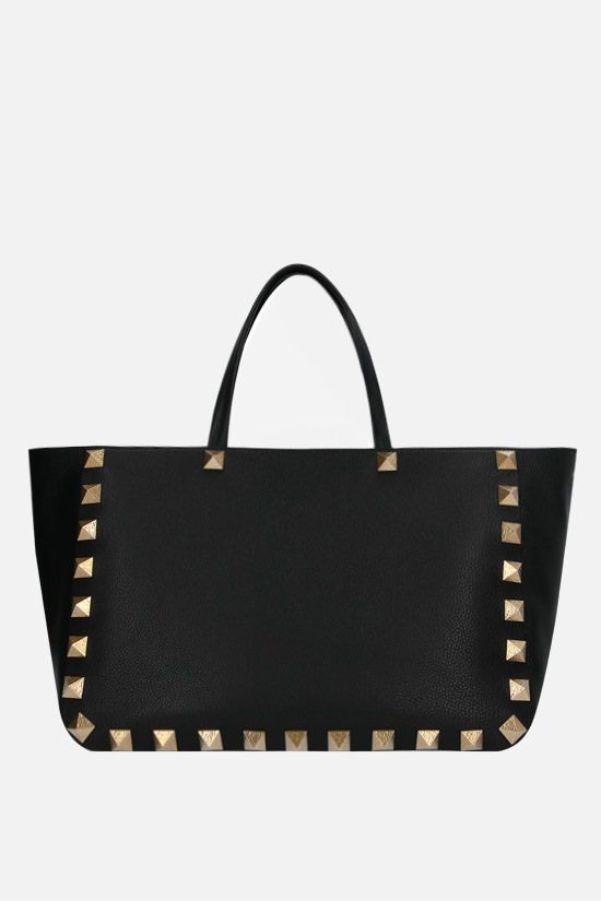 VALENTINO GARAVANI: Roman Stud grainy leather tote bag Color Black_2