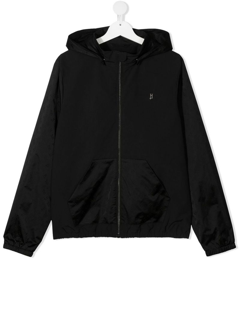HERNO KIDS: logo-detailed nylon bomber jacket Color Black_1