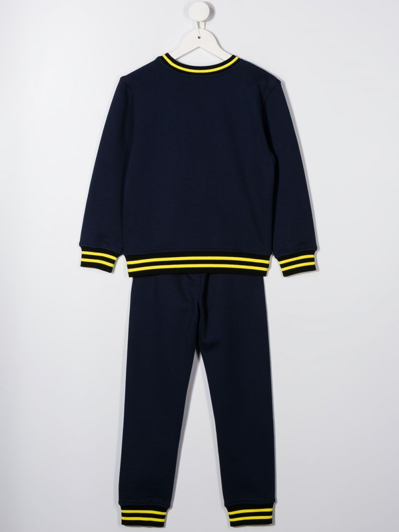 MOSCHINO KIDS: Moschino Couture embroidered cotton tracksuit Color Blue_2
