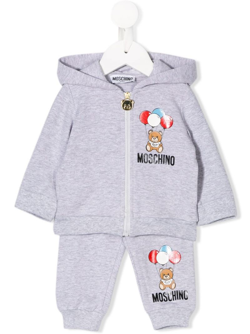 MOSCHINO KIDS: Balloons Teddy Bear print stretch cotton tracksuit Color Grey_1