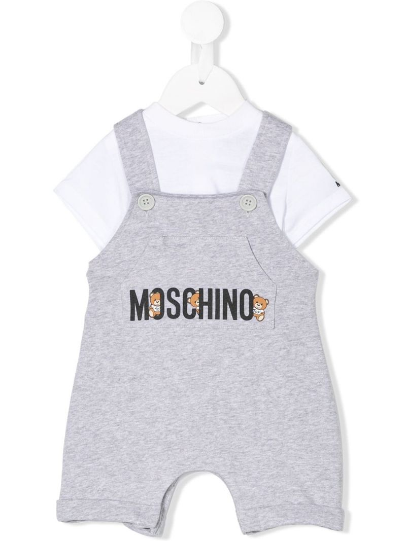 MOSCHINO KIDS: Teddy Logo stretch cotton t-shirt and overalls Color Grey_1