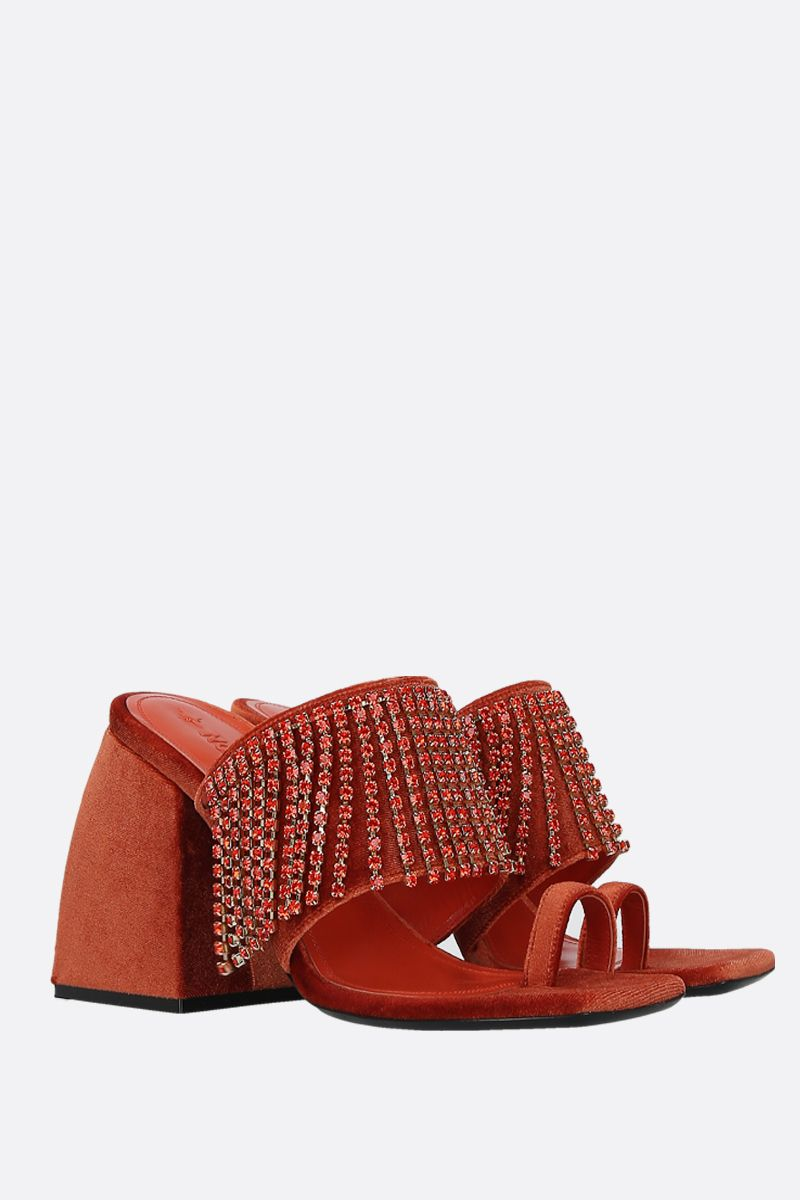 NODALETO: Bulla Preston velvet mule sandals Color Red_2