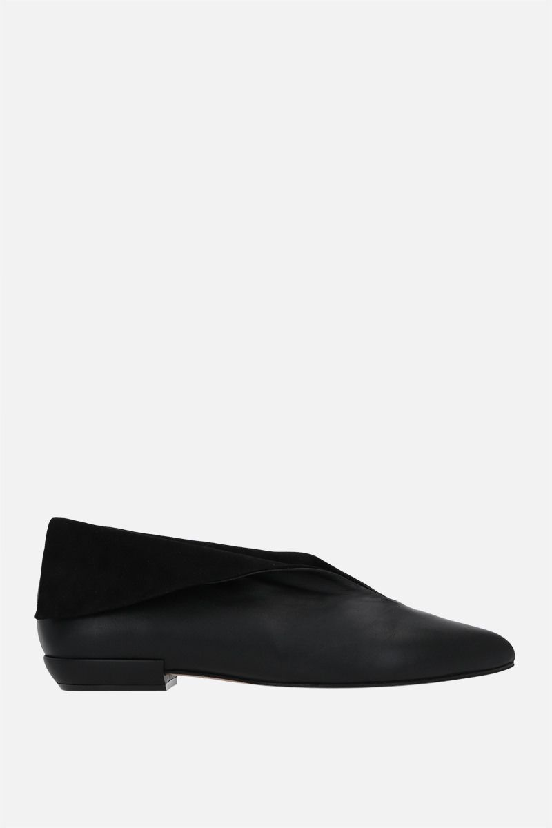 FERRAGAMO'S CREATIONS: Adal smooth leather and suede flat shoes Color Black_1