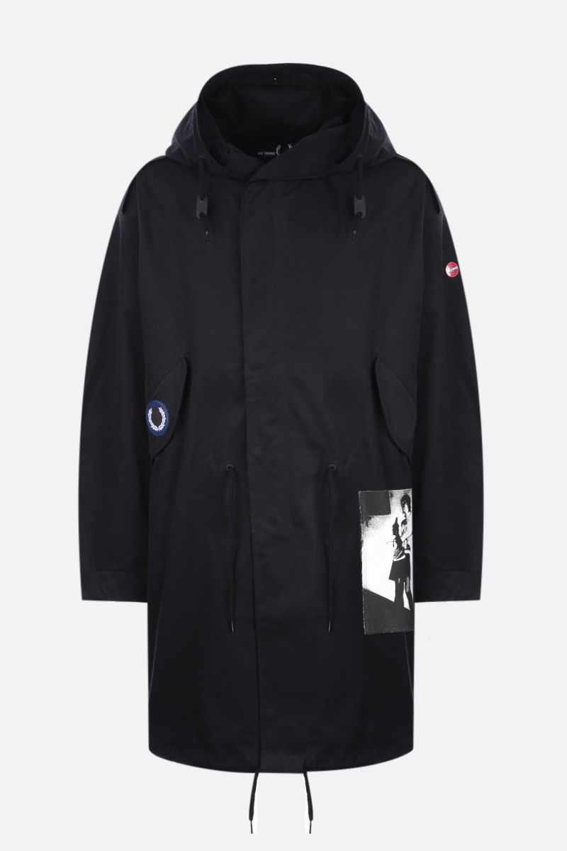 FRED PERRY X RAF SIMONS: patch-detailed oversize twill parka coat Color Black_1