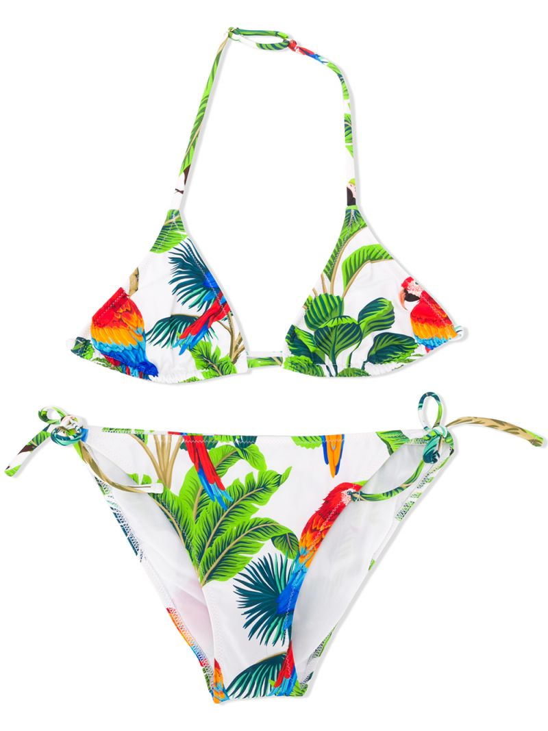 MC2 Saint Barth: parrots print lycra triangle bikini Color White_1