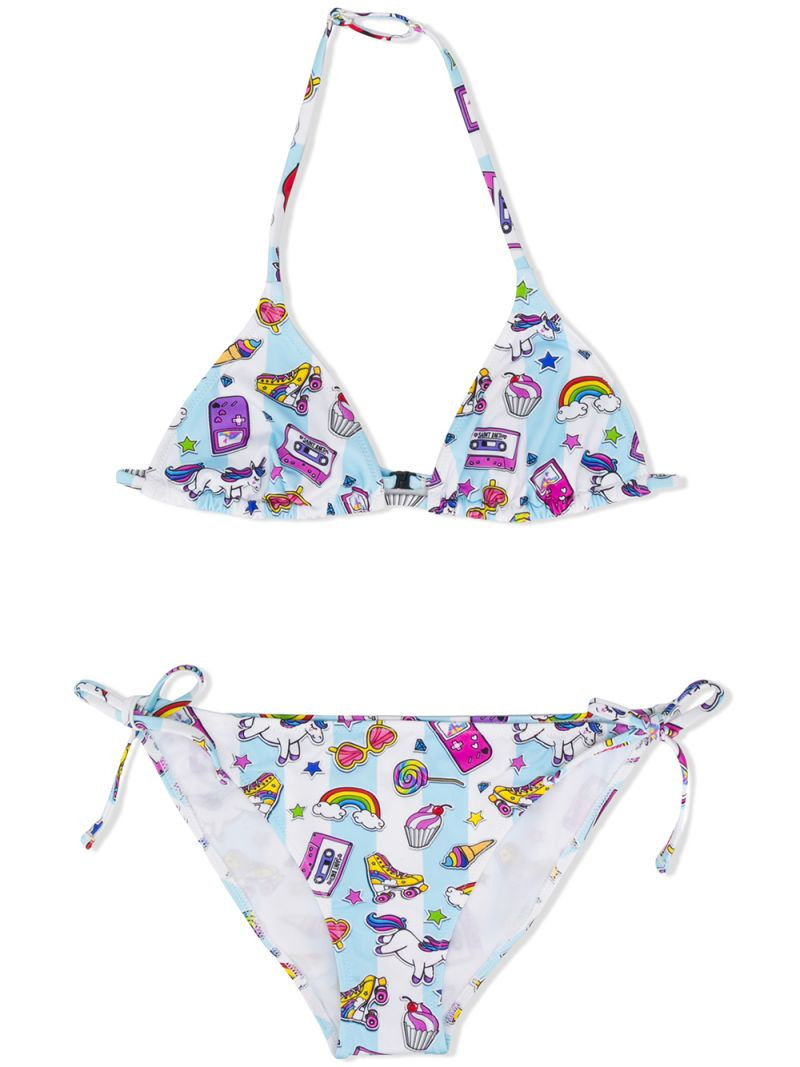 MC2 Saint Barth: unicorn print lycra triangle bikini Color Multicolor_1