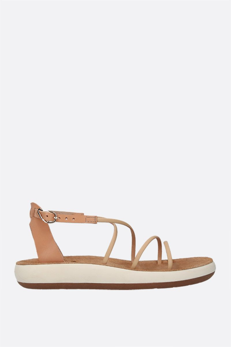 ANCIENT GREEK SANDALS: Anastasia smooth leather flatform sandals Color Neutral_1