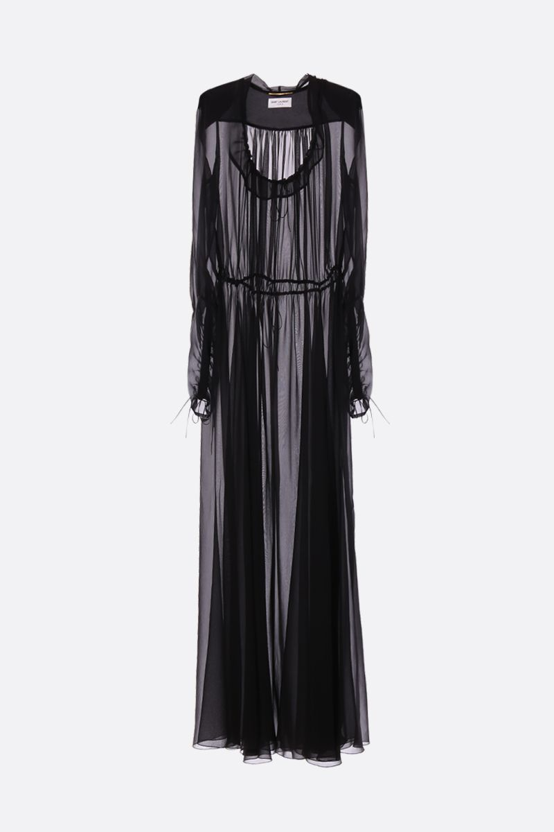 SAINT LAURENT: crepe de chine long dress Color Black_1