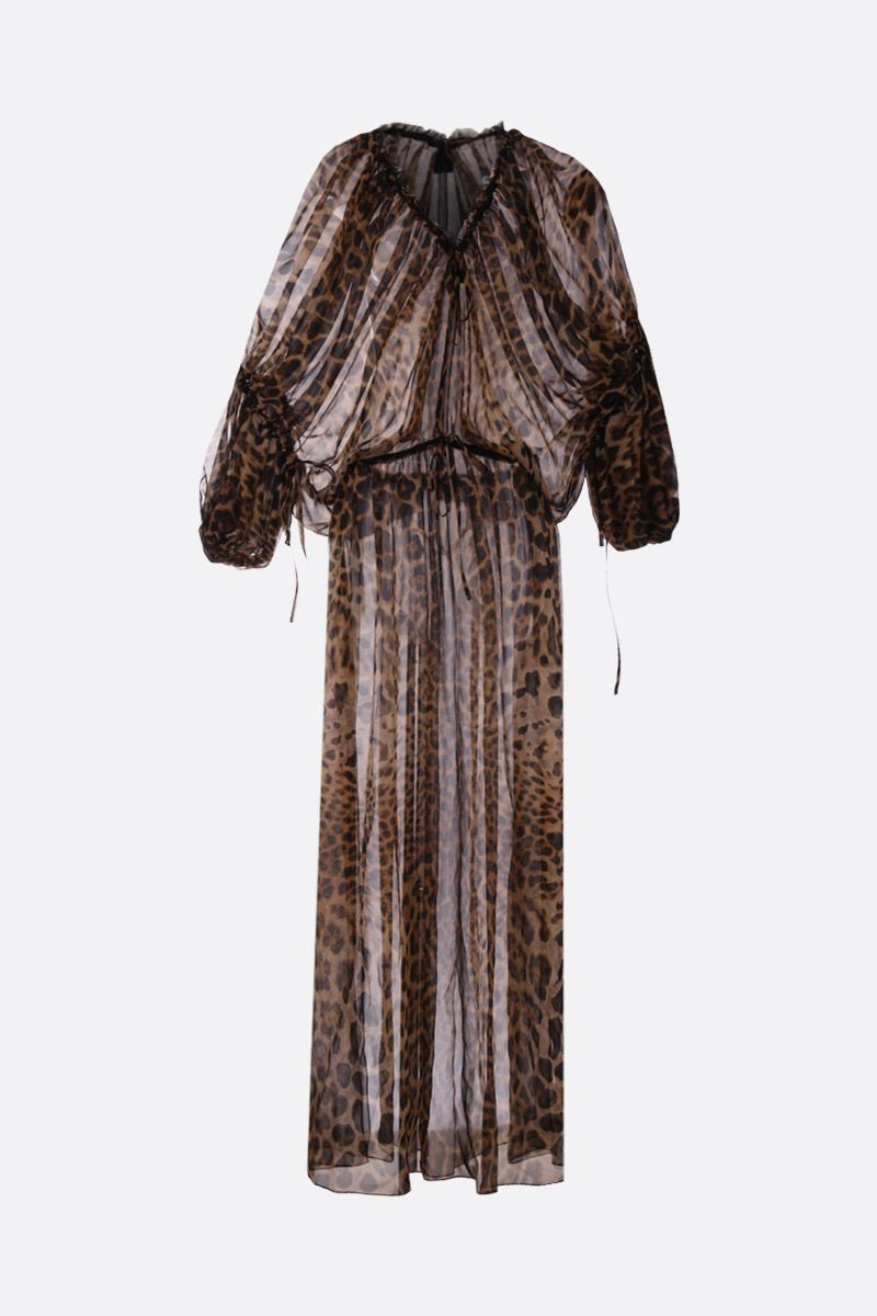SAINT LAURENT: leopard print chiffon long dress Color Animalier_1