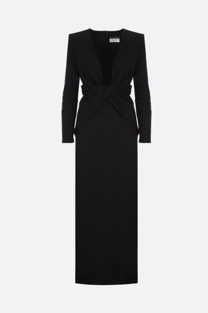 SAINT LAURENT: sablè long dress with draped detail Color Black_1