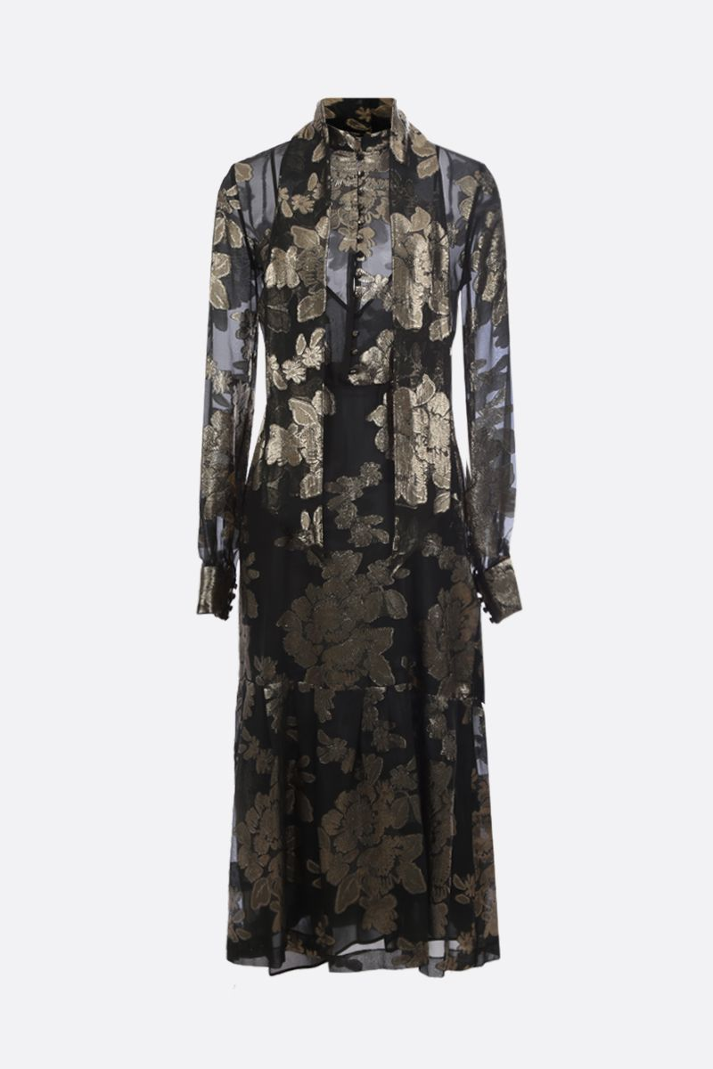 SAINT LAURENT: floral embroidered georgette long dress_1