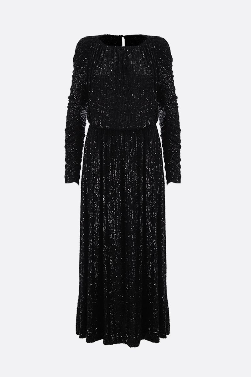 SAINT LAURENT: sequinned fabric long dress Color Black_1