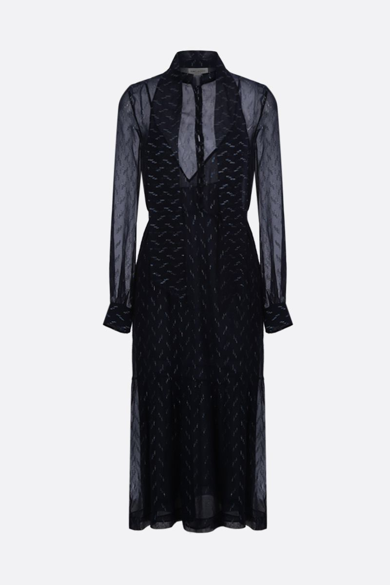 SAINT LAURENT: graphic embroidered crepe long dress_1
