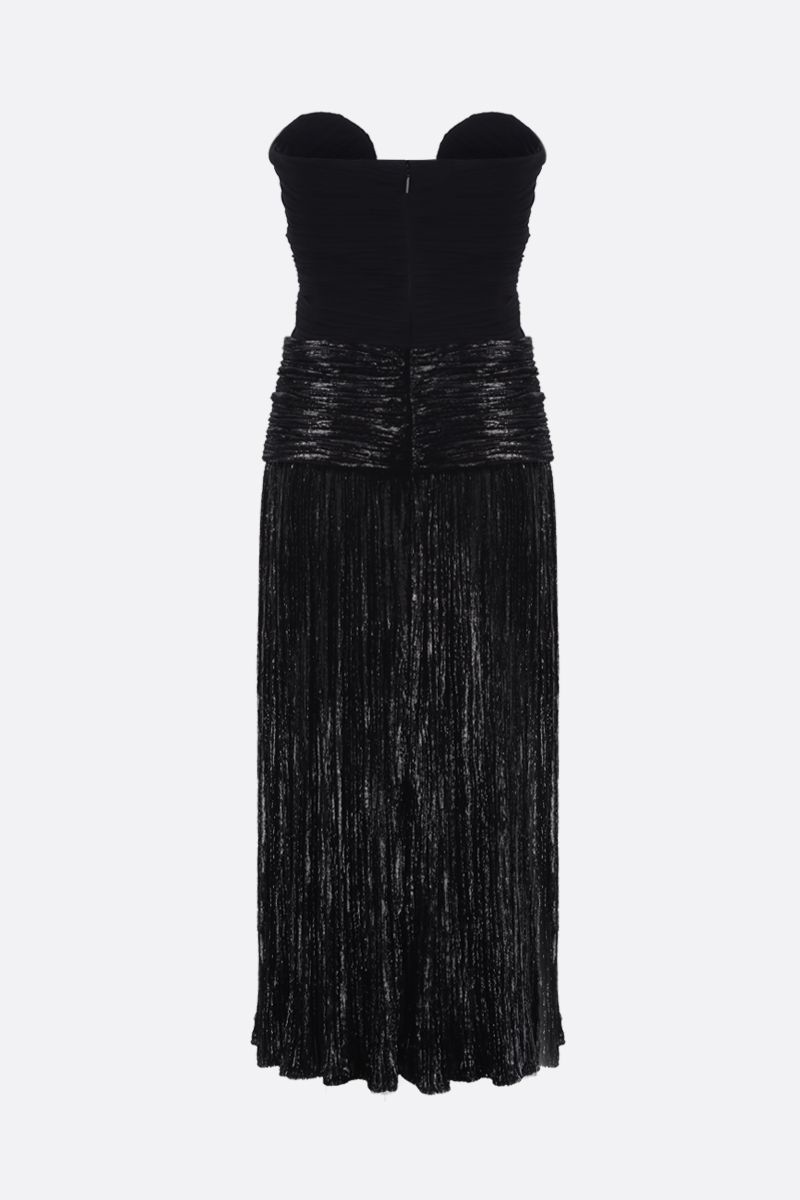 SAINT LAURENT: lurex velvet bustier dress Color Black_2