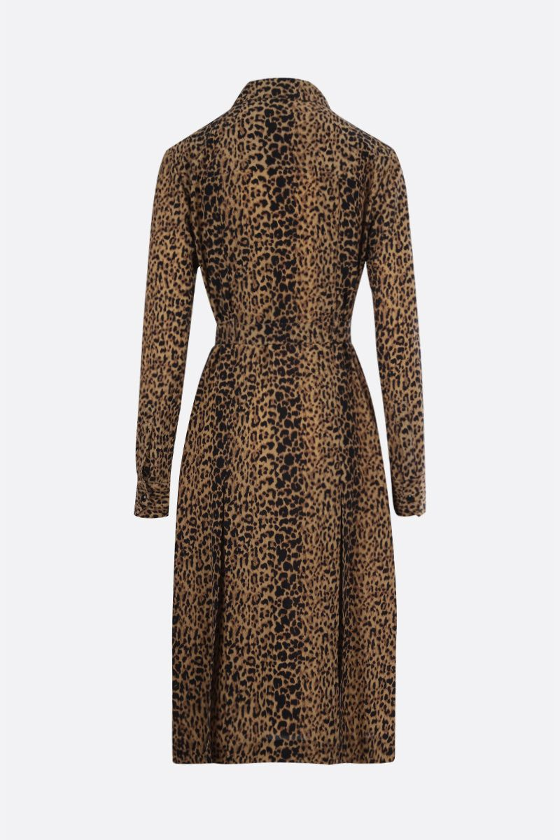 SAINT LAURENT: abito chemisier in seta stampa leopardo Colore Animalier_2