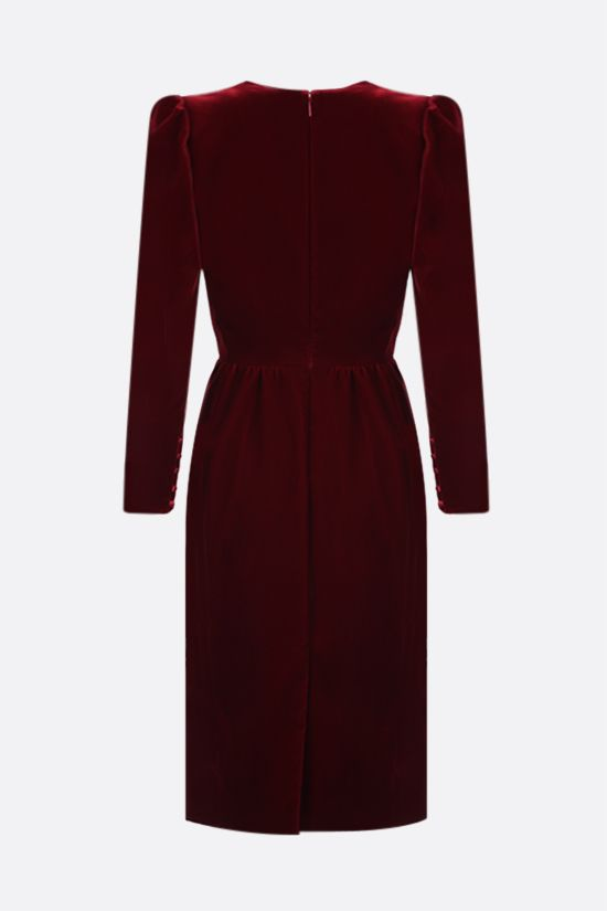 SAINT LAURENT: soft velvet midi dress Color Red_2