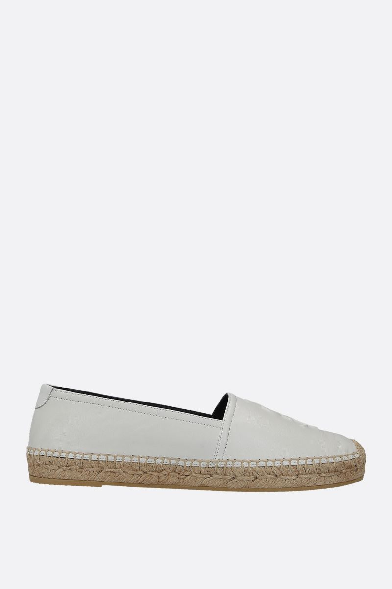 SAINT LAURENT: Monogram espadrilles in smooth leather Color White_1