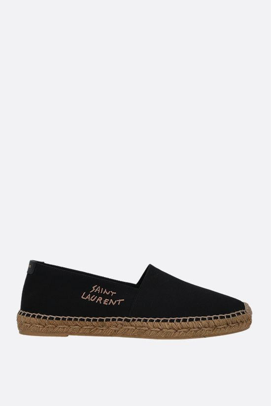 SAINT LAURENT: logo-embroidered canvas espadrilles Color Black_1