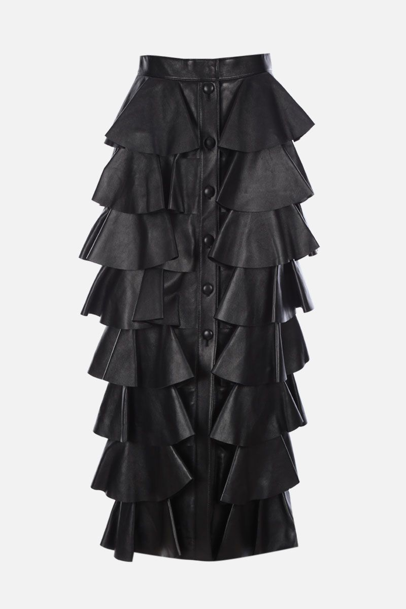 SAINT LAURENT: nappa leather flounced skirt Color Black_1