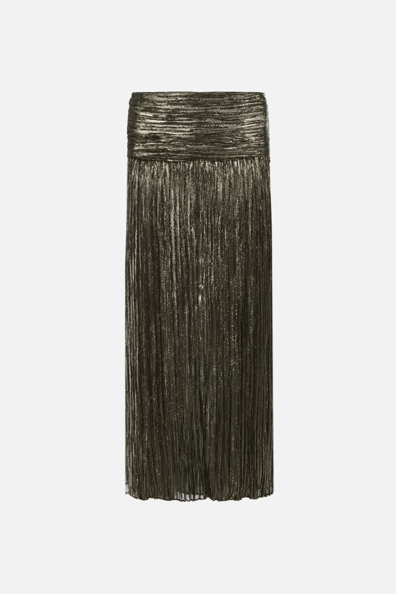 SAINT LAURENT: lurex silk long pleated skirt Color Black_1