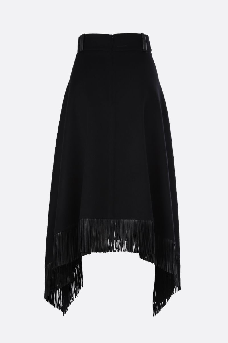 SAINT LAURENT: gonna asimmetrica in lana e cashmere con frange Colore Nero_2