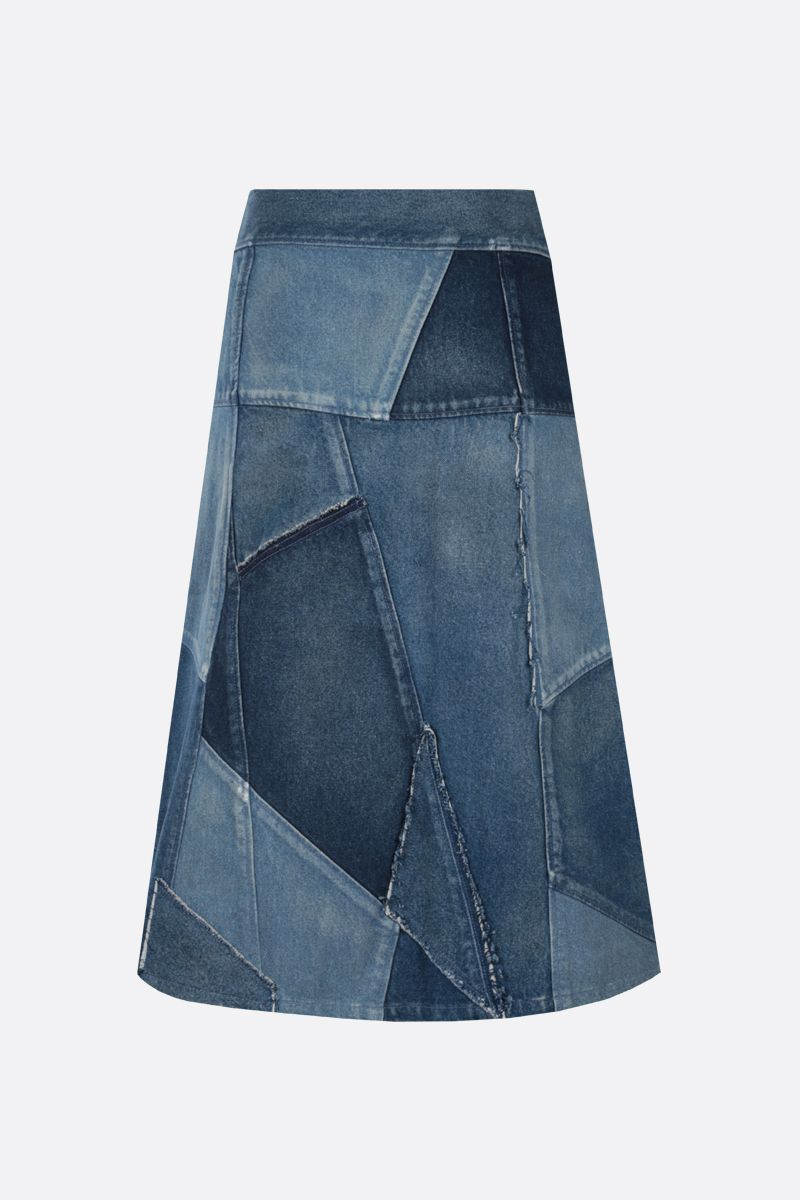 SAINT LAURENT: patchwork denim midi skirt Color Blue_2