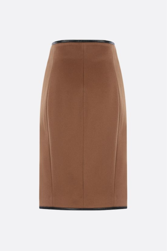 SAINT LAURENT: wool flannel wrap skirt Color Neutral_2