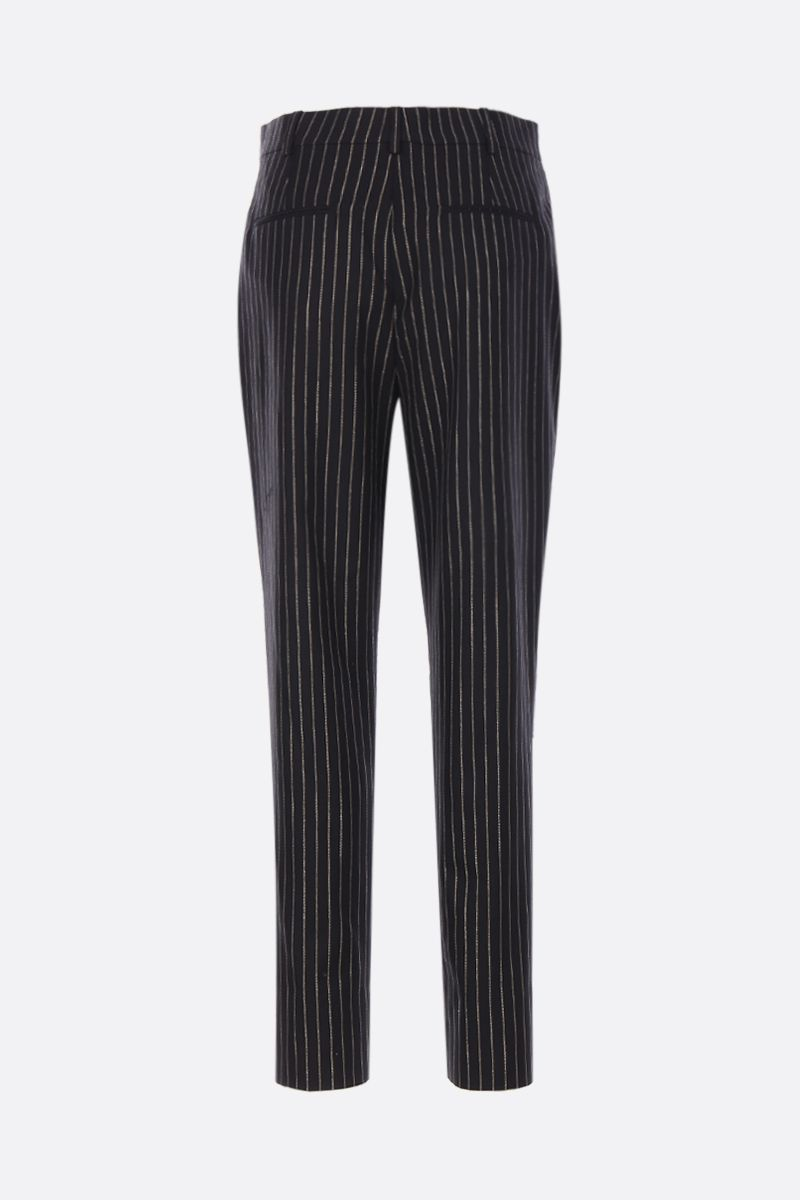 SAINT LAURENT: high-waisted wool and lurex pants Color Black_2