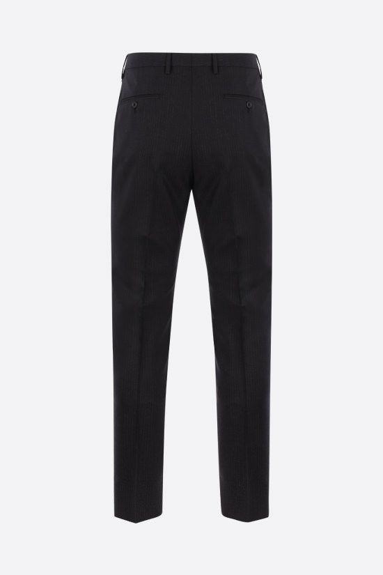 SAINT LAURENT: pantalone in mohair e lana a motivo gessato Colore Nero_2