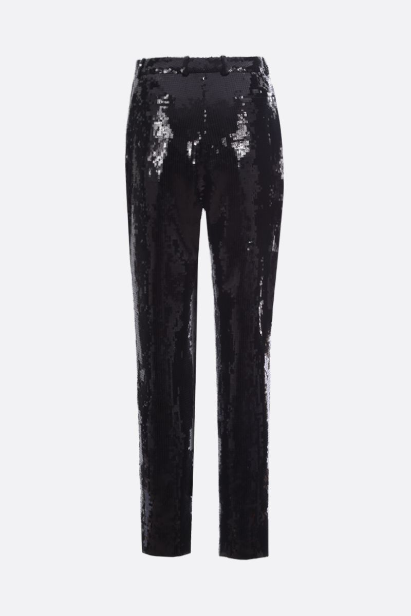 SAINT LAURENT: sequinned sablè cropped pants Color Black_2