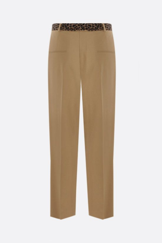 SAINT LAURENT: wool pants with leopard-print silk belt Color Neutral_2
