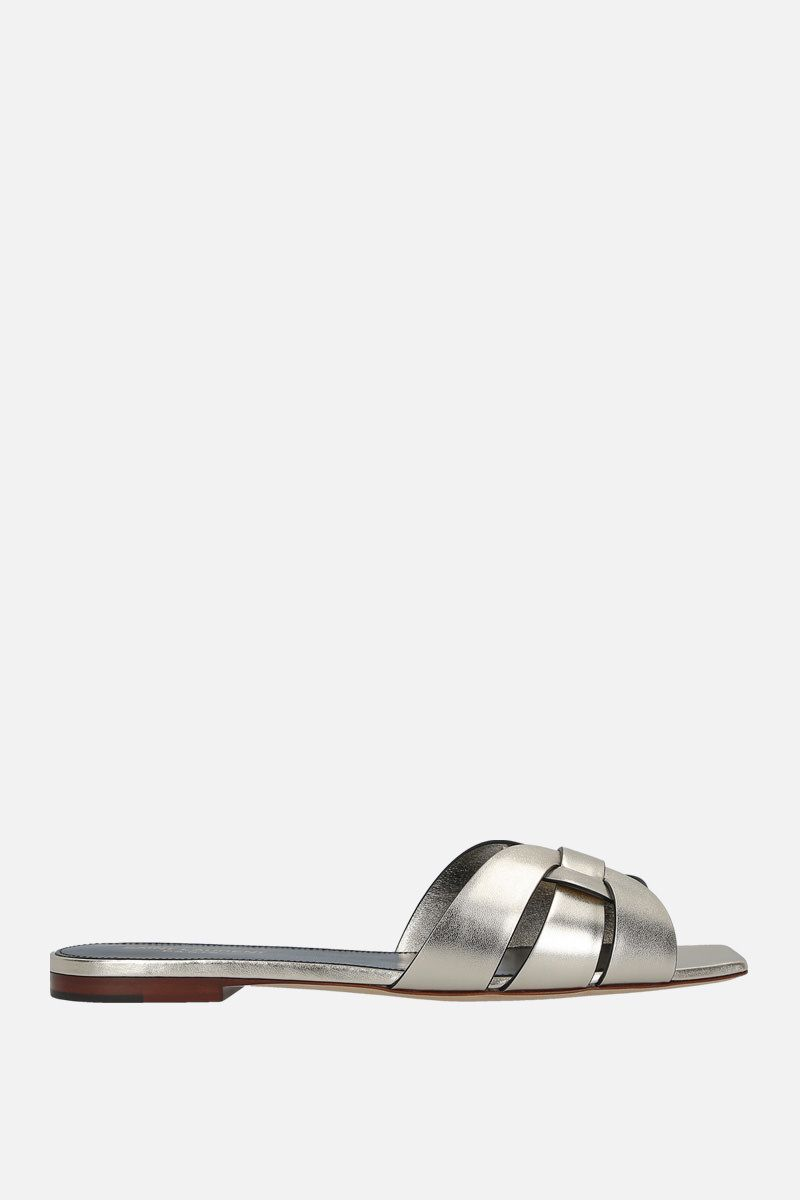 SAINT LAURENT: Tribute laminated leather flat sandals Color Silver_1