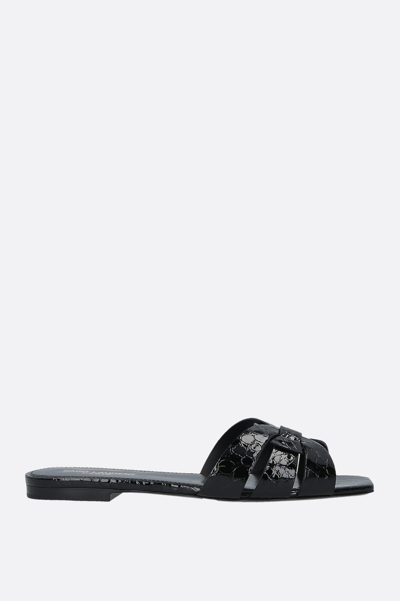 SAINT LAURENT: Tribute crocodile embossed leather flat sandals Color Black_1