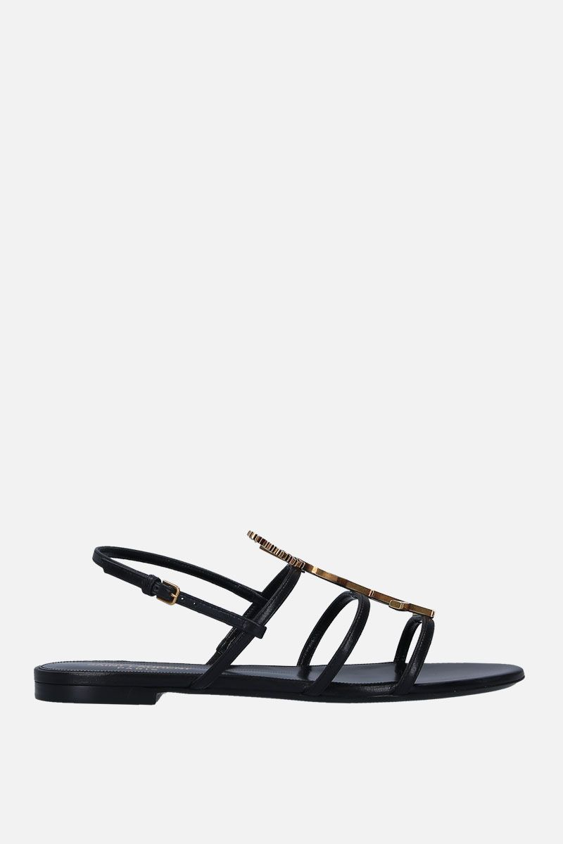 SAINT LAURENT: Cassandra flat sandals in smooth leather Color Black_1