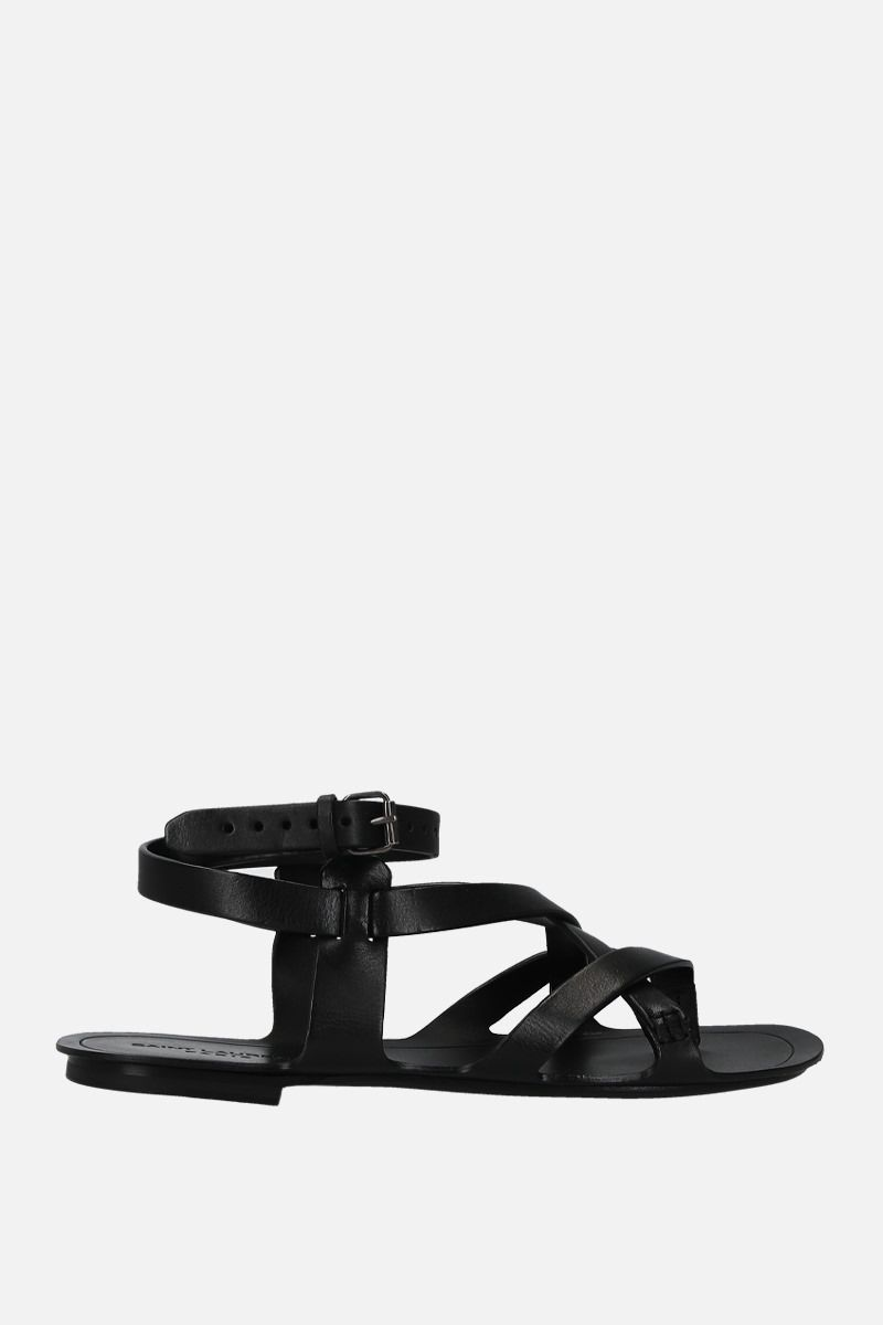 SAINT LAURENT: Culver thong sandals in smooth leather Color Black_1