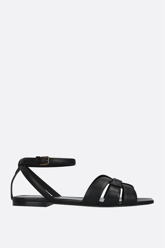 SAINT LAURENT: Tribute smooth leather flat sandals Color Black_1