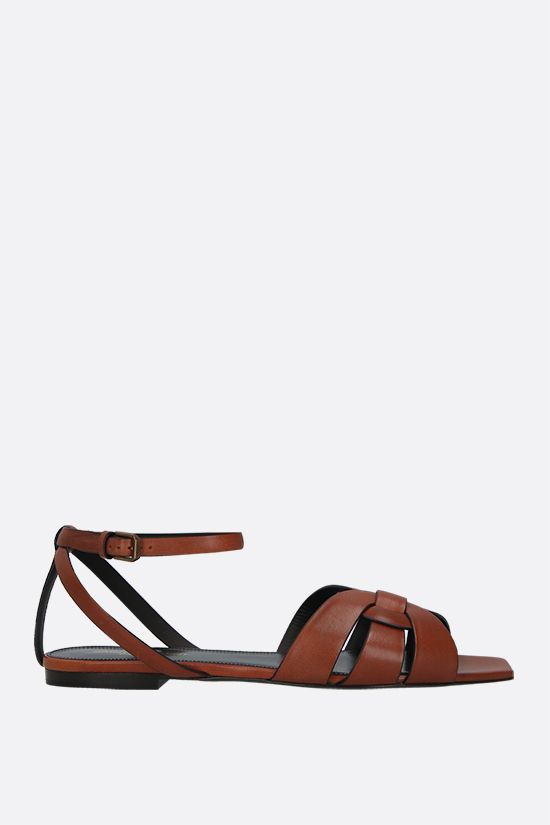 SAINT LAURENT: Tribute smooth leather flat sandals_1