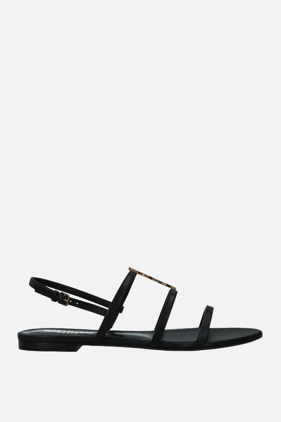 SAINT LAURENT: Cassandra smooth leather flat sandals Color Black_1
