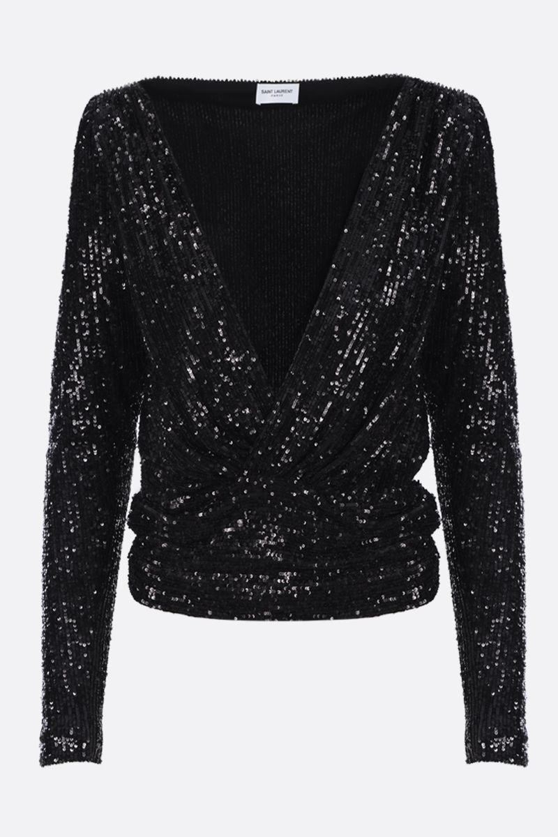 SAINT LAURENT: sequinned fabric wrap top Color Black_1