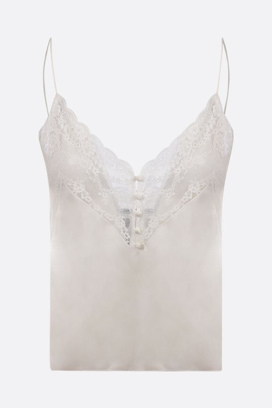 SAINT LAURENT: top in silk satin charmeuse and lace Color Neutral_1